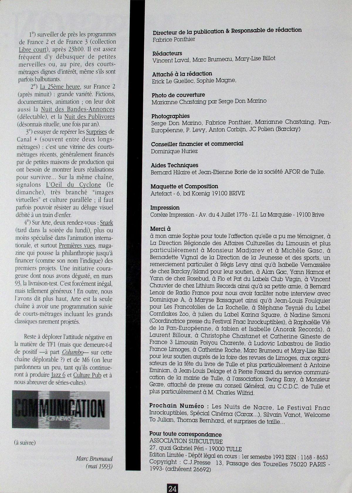 Subculture Été-automne 1993
