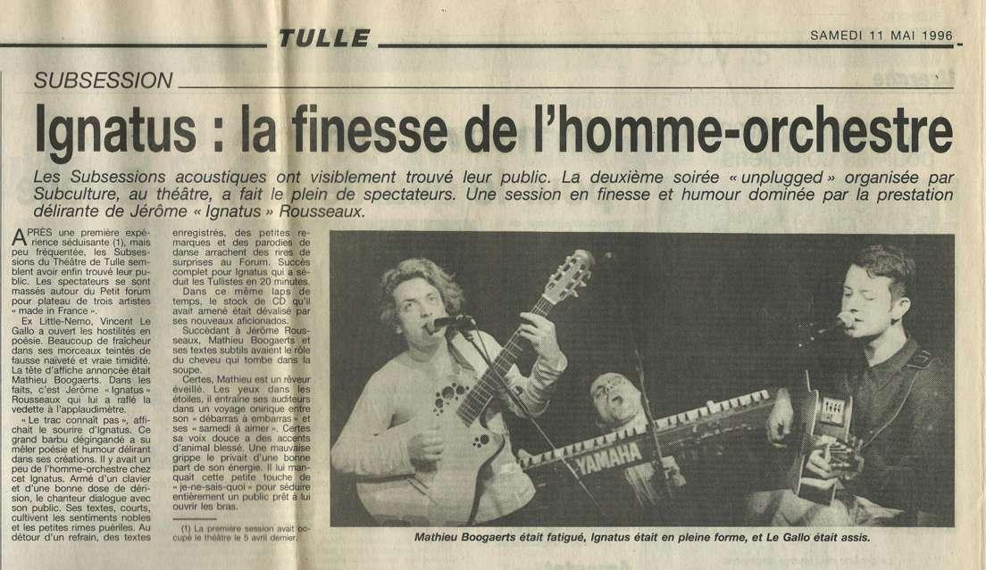 Compte rendu de la seconde Subsession avec Matthieu Boogaerts et Ignatus - Article paru dans La Montagne le 11 mai 1996