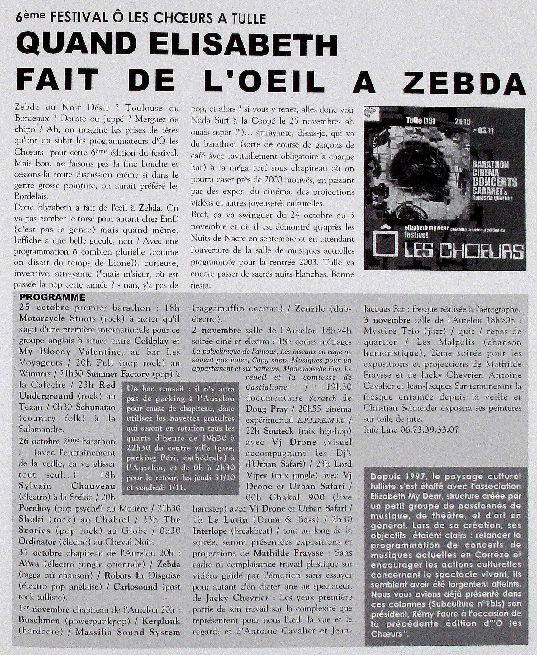 Le magazine Subculture consacre une page aux activités de l'association - Automne 2002 - Archives Dlqc