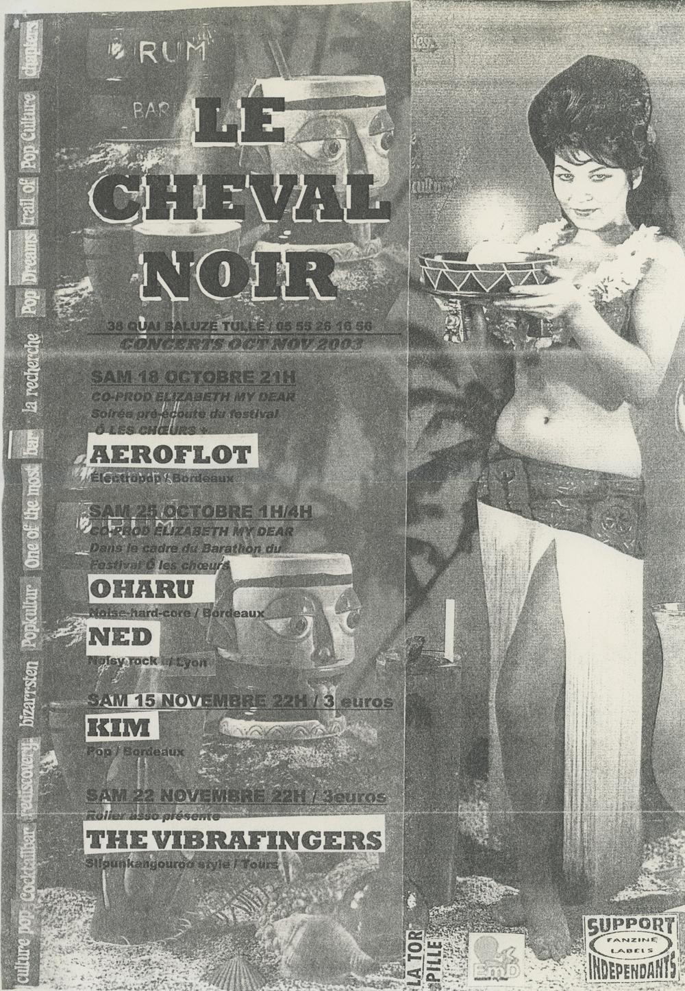 Flyer des concerts au Cheval Noir