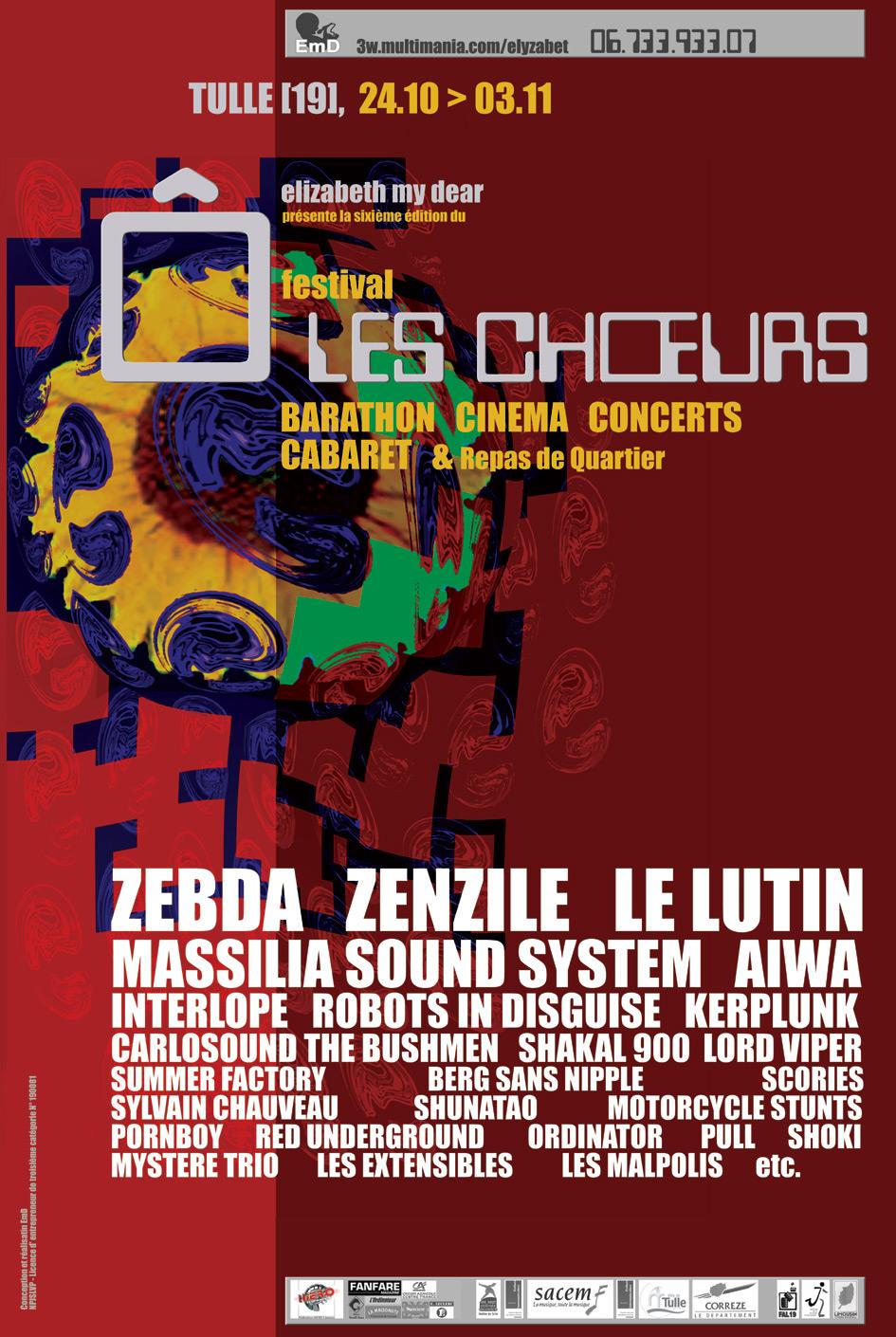 Affiche de l'édition 2002 du festival Ô Les Choeurs - Archives Elizabeth My Dear